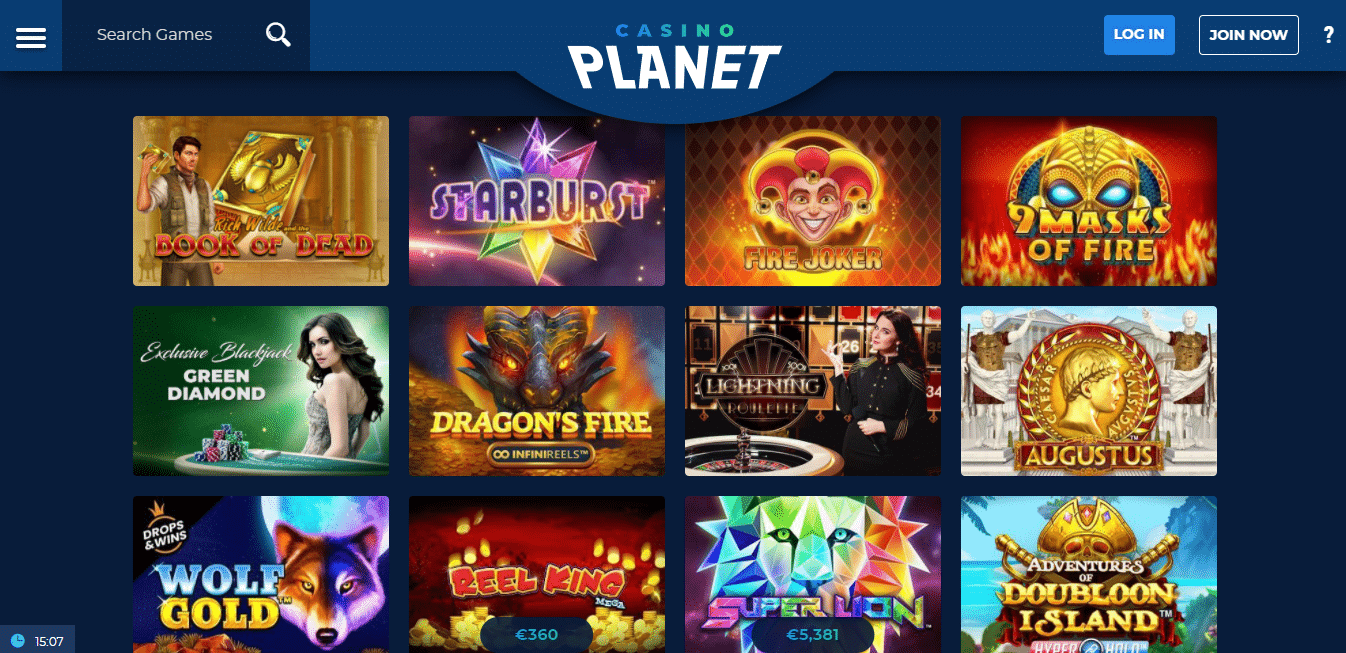 Casino Planet Game Selection