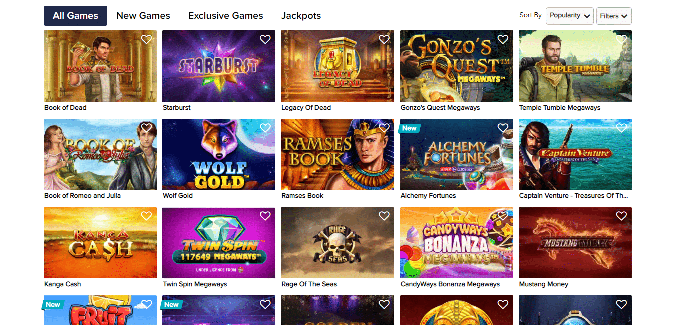 CasinoEuro Game Selection