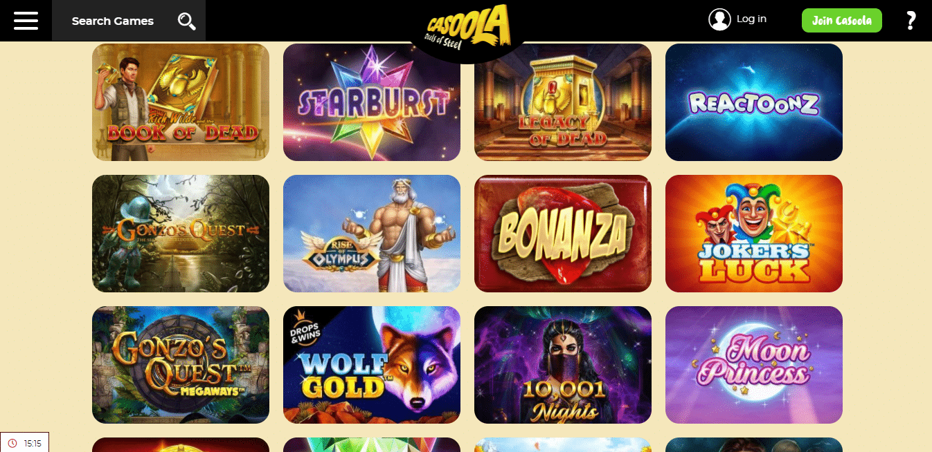 Casoola Game Selection