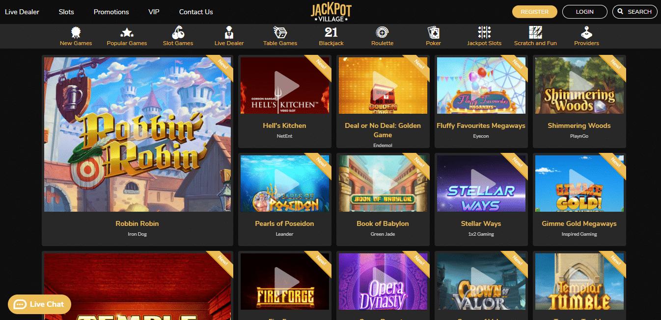 Jackpot Village Game Selection