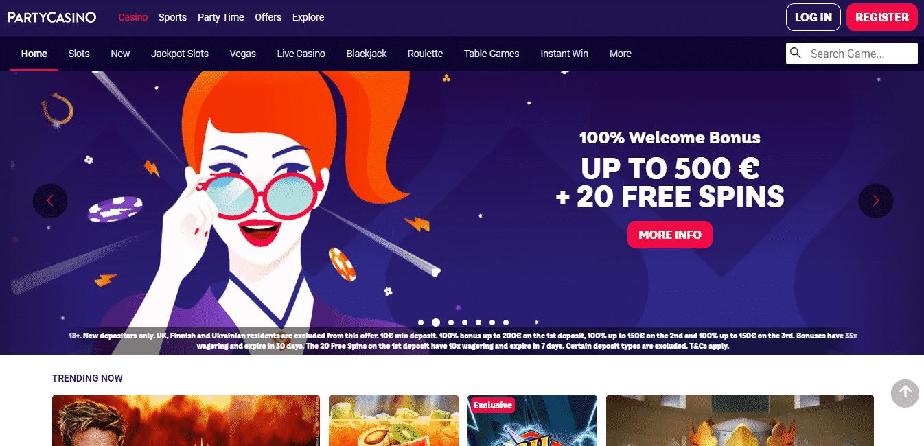 PartyCasino Homepage
