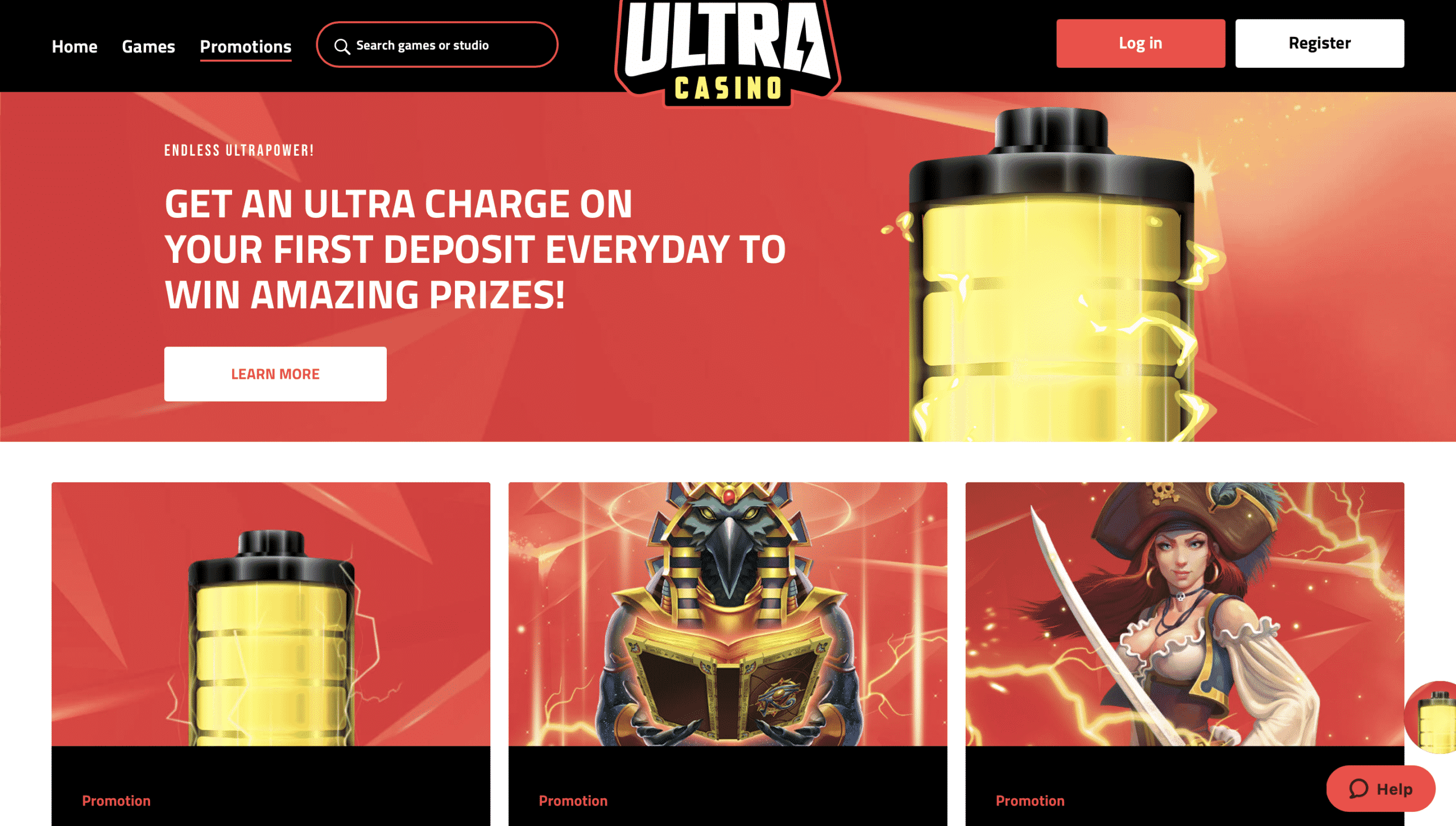 Ultra Casino Homepage