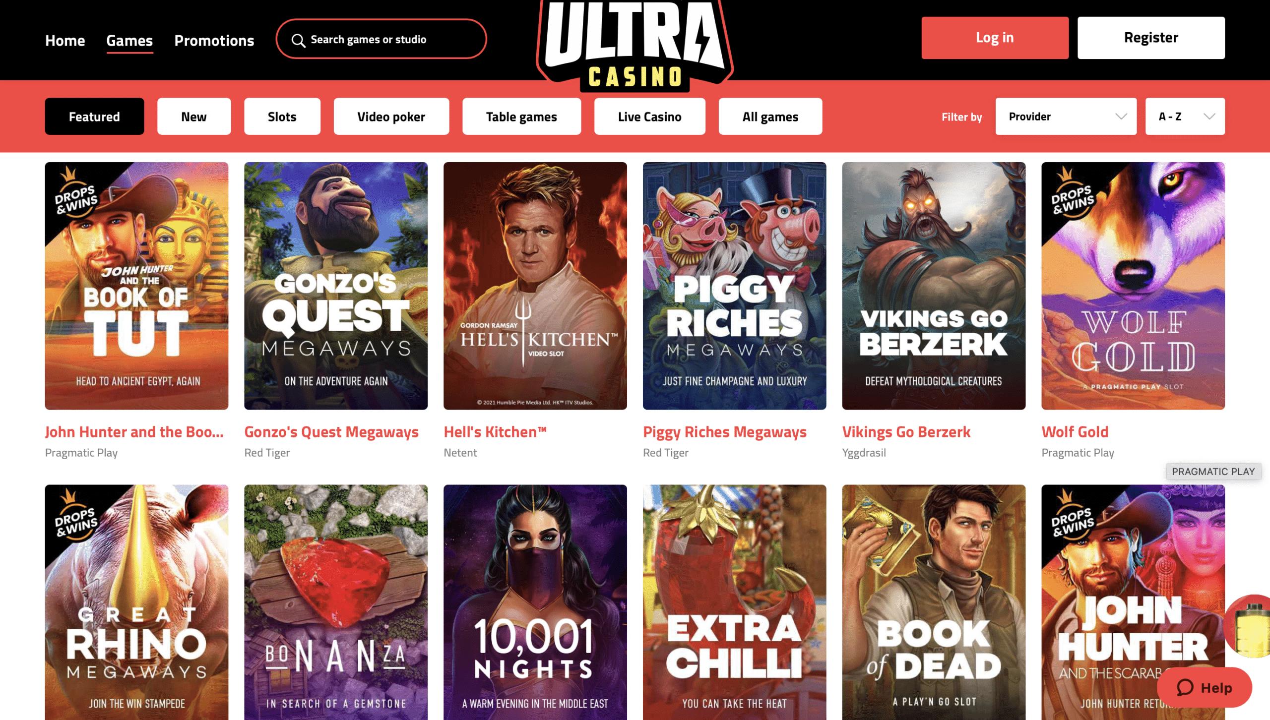 UltraCasino Game Selection