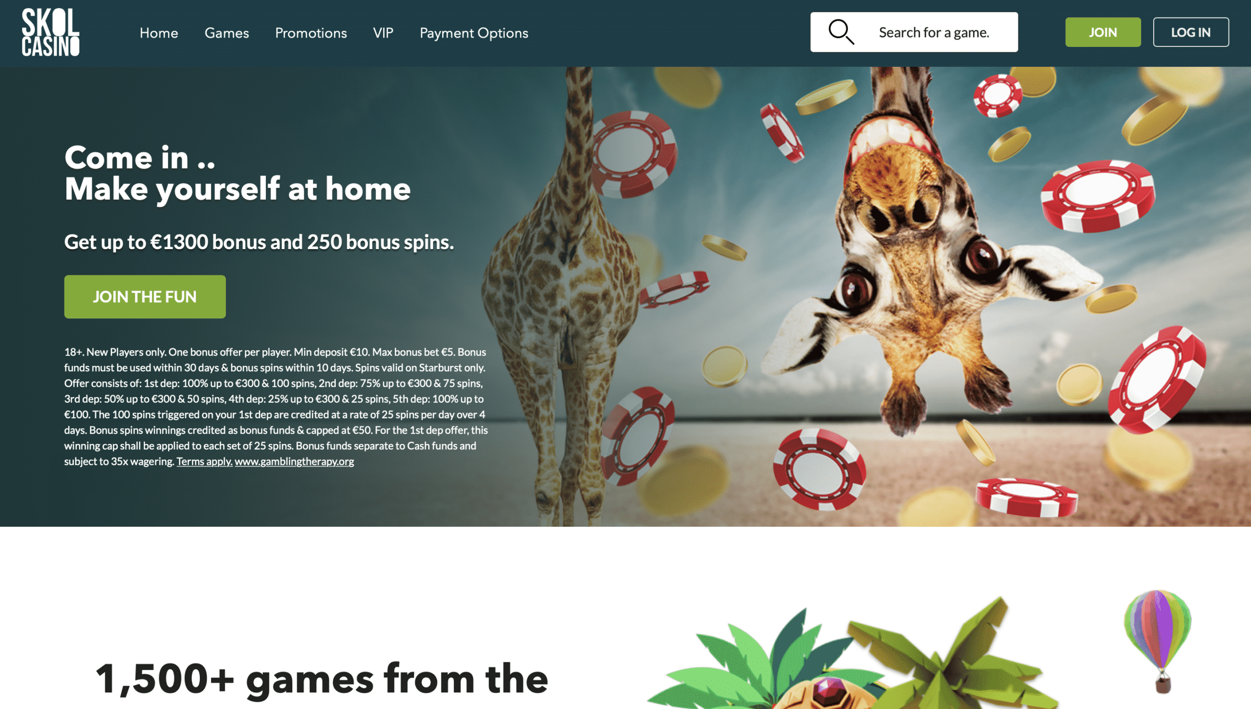 Skol Casino Homepage