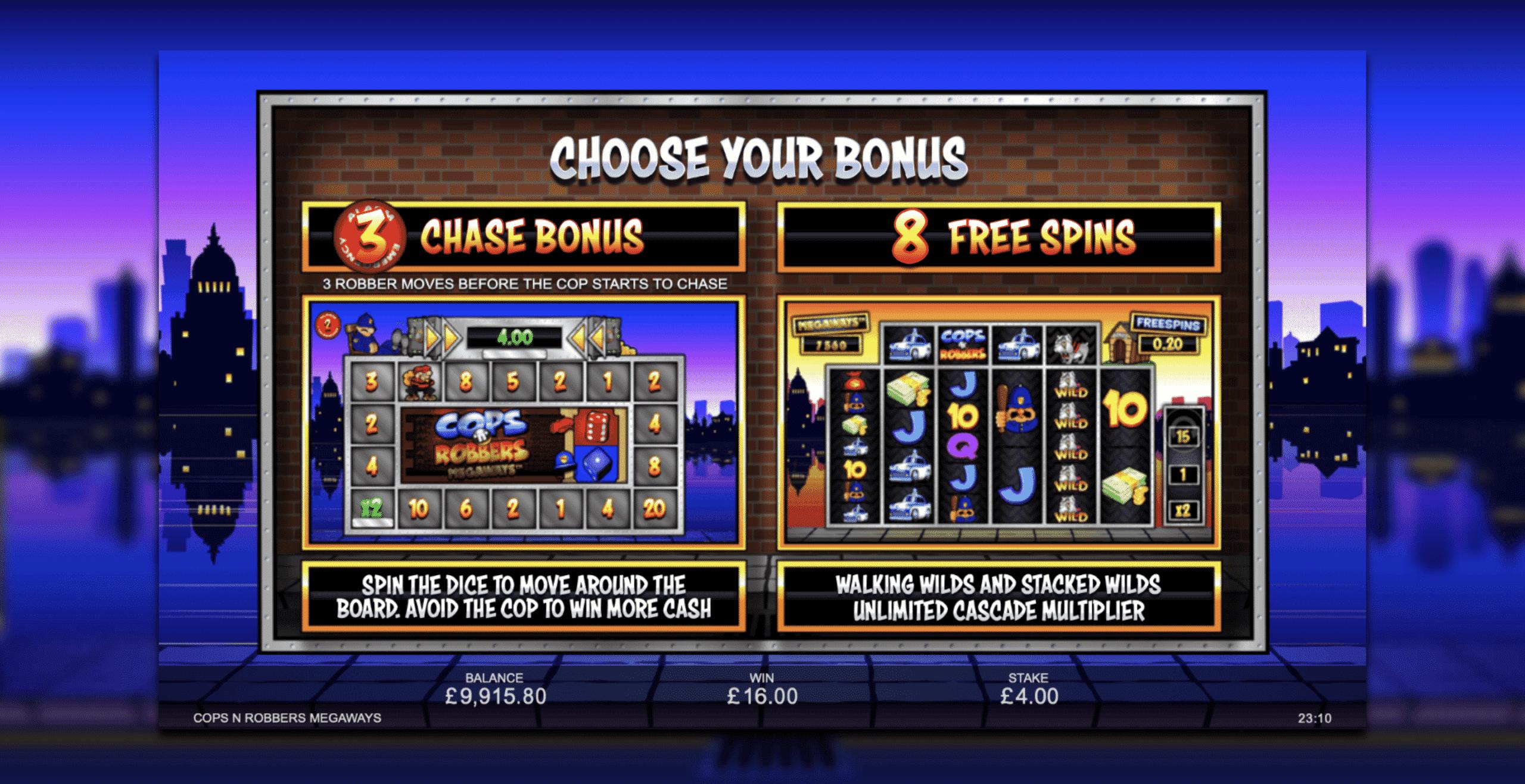 Cops 'n' Robbers Megaways Bonus Choice
