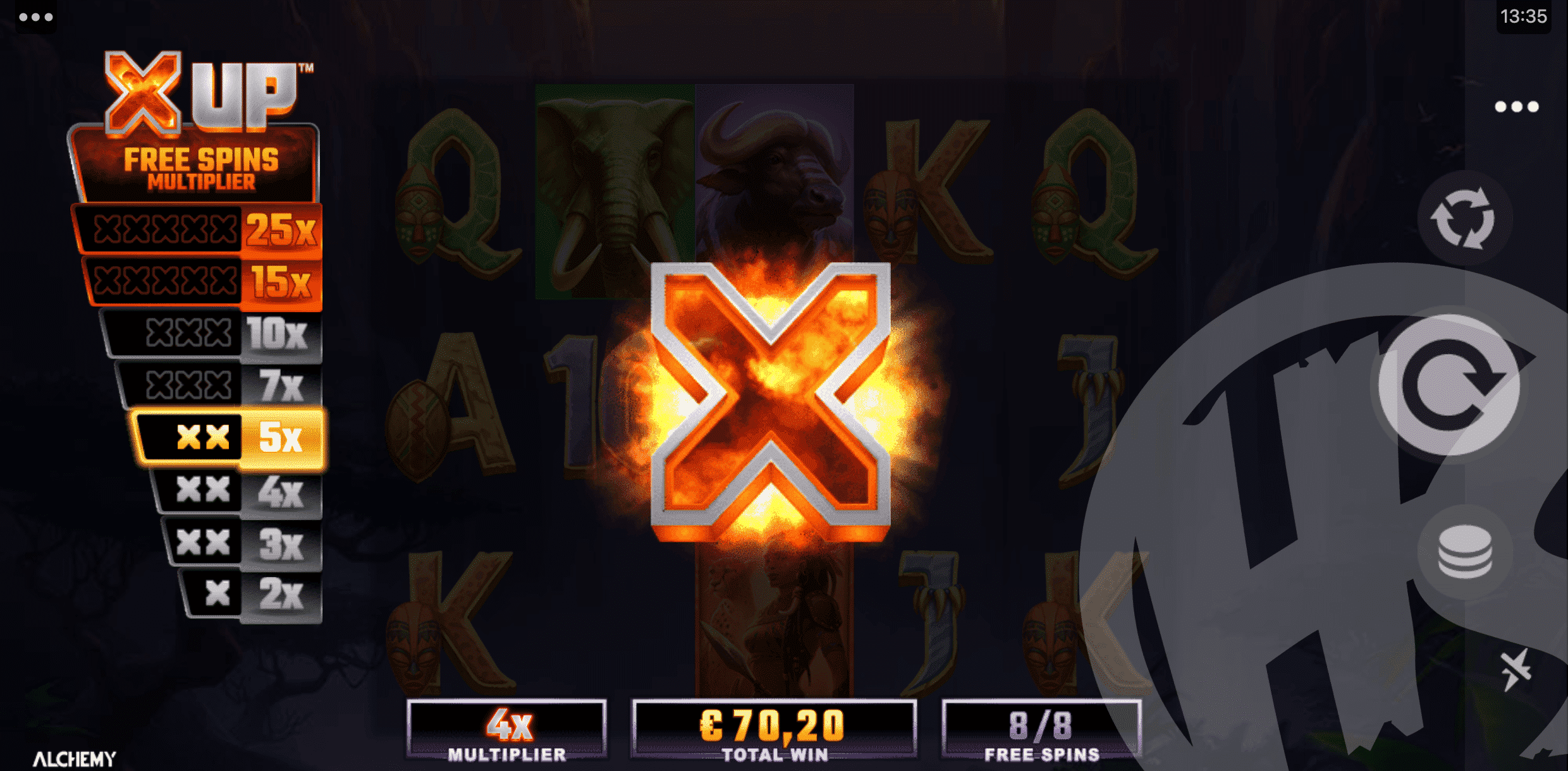 X UP Tokens Are Collected During Free Spins