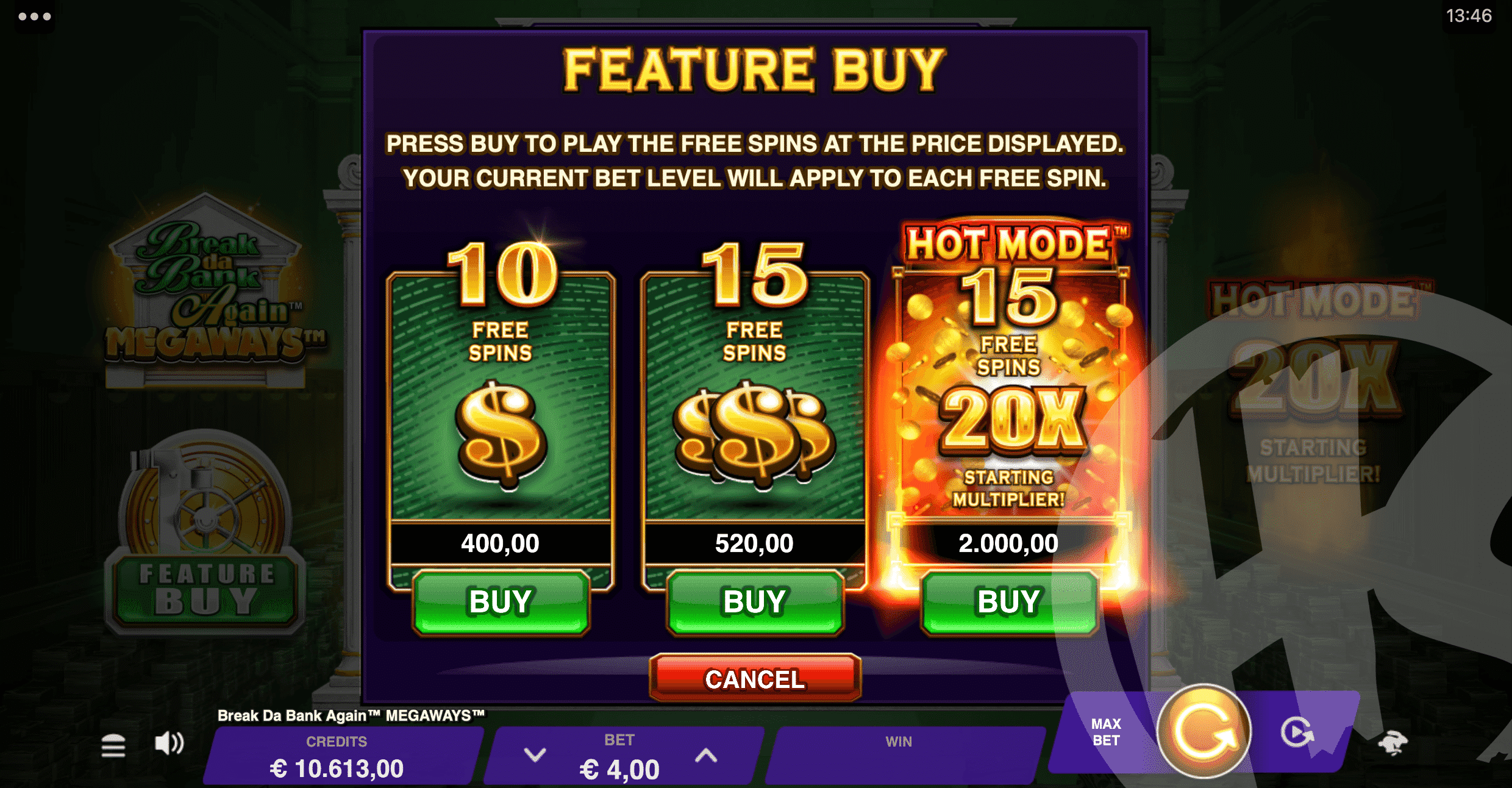 3 Feature Buy Options are Available - Costing 100x, 130x or 500x Bet