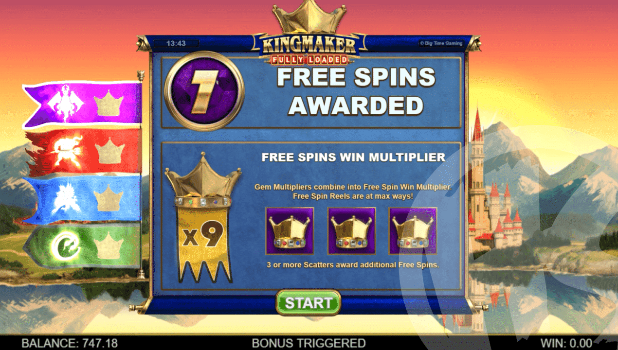 Kingmaker Fully Loaded Free Spins