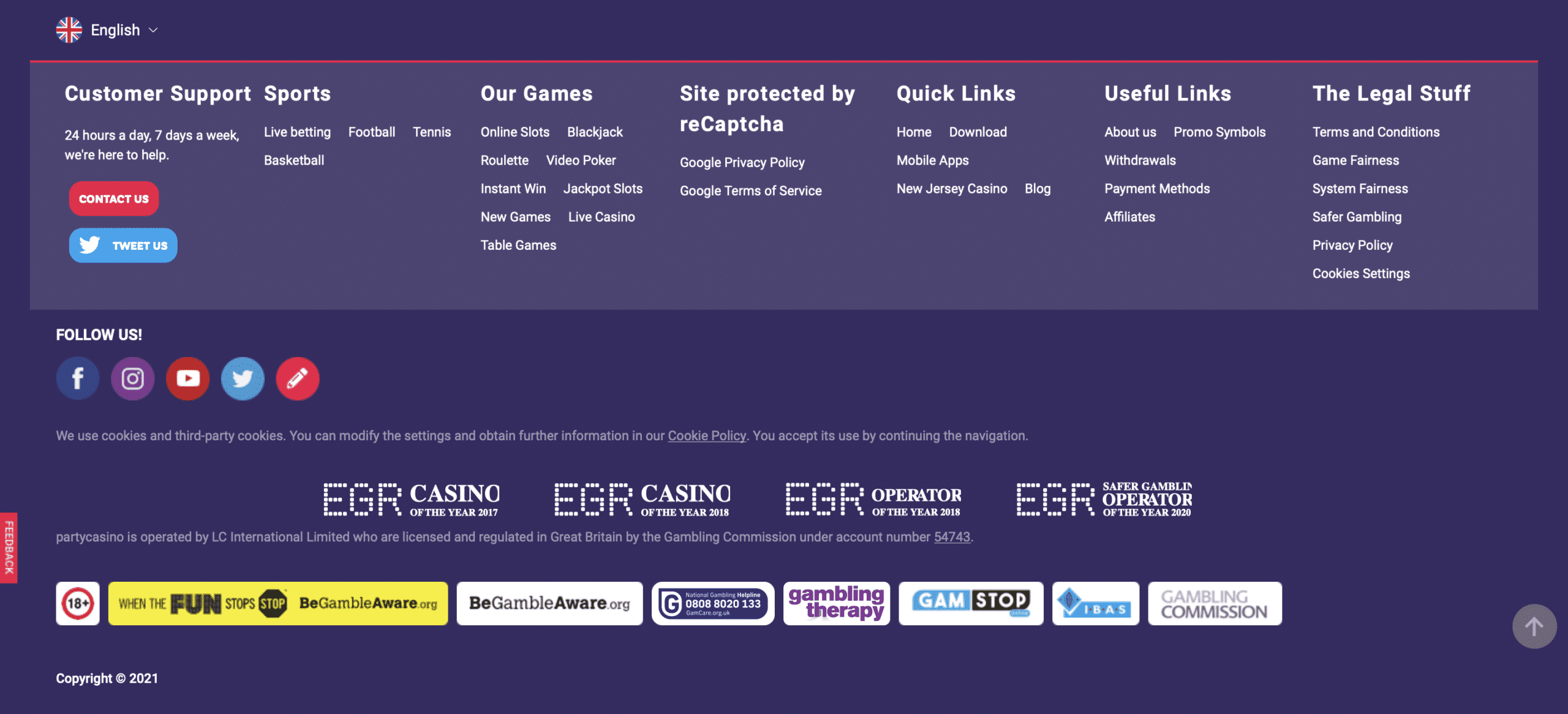 PartyCasino UKGC License Information
