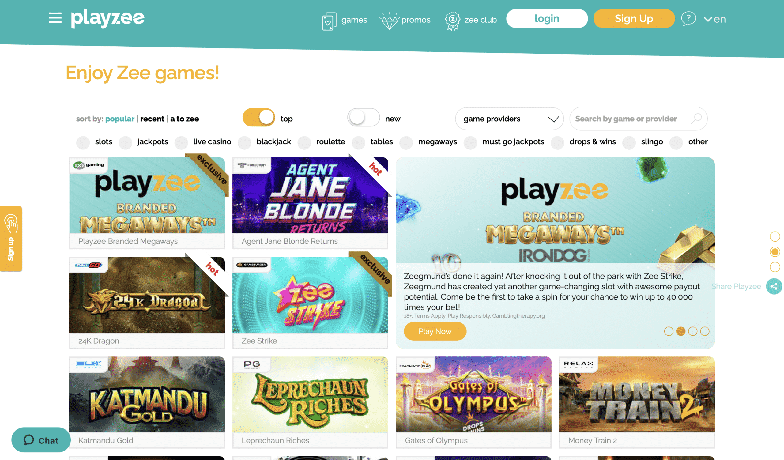 Playzee Game Selection